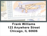 Vintage Airplane Stamps Address Labels | LBFUN-05