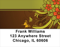 Chocolate Floral Stripes Address Labels | LBGEP-11