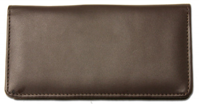 Dark Brown Smooth Leather Checkbook Cover | CLP-BRN03