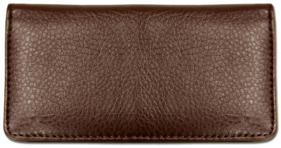 Dark Brown Textured Leather Checkbook Cover | CLP-BRN06