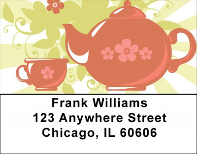 Red Retro Teapot Address Labels | LBQBH-38