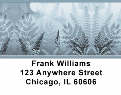Blue Ferns Address Labels | LBZNAT-41