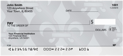 Brushed Metal Fleur de Lis Personal Checks | QBQ-88