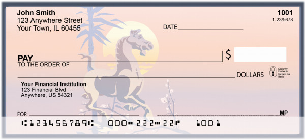 Asian Horse  & Rooster Personal Checks | BBB-53