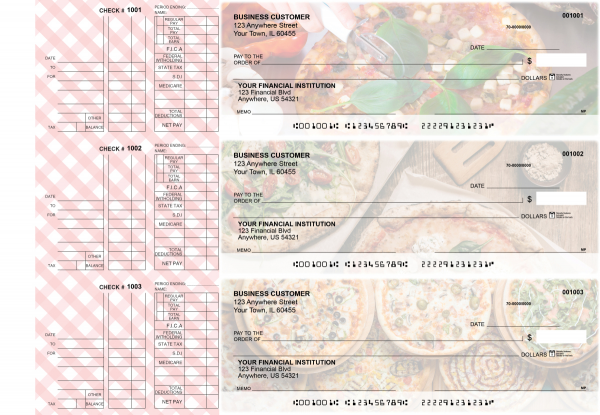 Pizza Multi Purpose Designer Business Checks  | BU3-CDS08-DEP