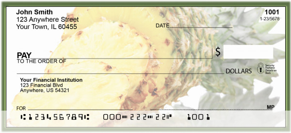 Golden Tropical Pineapple Personal Checks | FOD-40