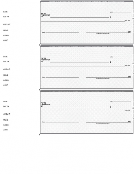 Grey Safety 3 Per Page Wallet Checks | L3P-ES