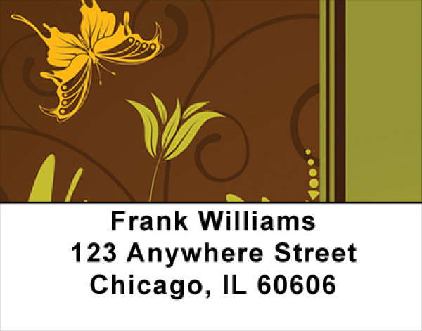 Fall Filigree Stripes Address Labels | LBGEP-13
