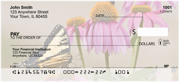Brown Eyed Susans With Butterfly Personal Checks | NAT-38