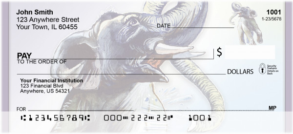 Playful Elephants Personal Checks | QBC-20