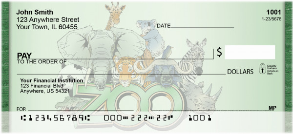 Zoo Animals Personal Checks | QBD-25