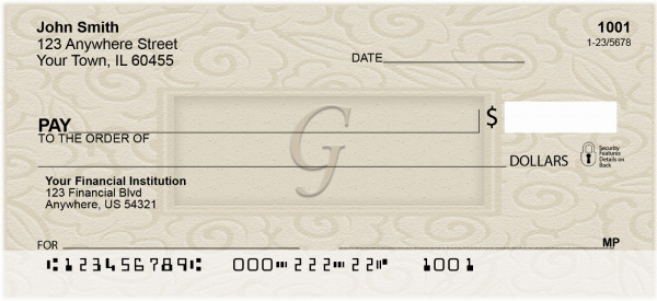 Golden Carved Monogram - G Personal Checks | QBK-18