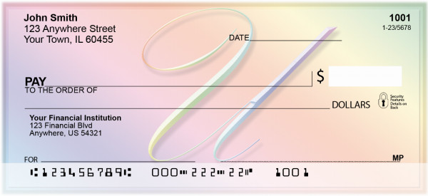 Rainbow Art Monogram - U Personal Checks | QBL-28