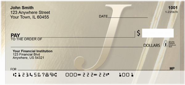Solid Gold Monograms - J Personal Checks | QBL-95