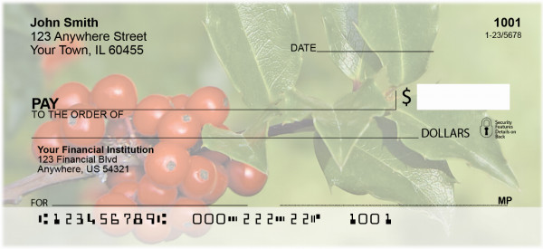 Holly With Greenery Personal Checks | XMS-03