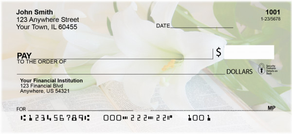 Lily Bouquet On Holy Bible Personal Checks | ZREL-11