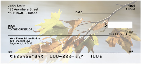 Falling Leaves On Water Personal Checks | ZSCE-64