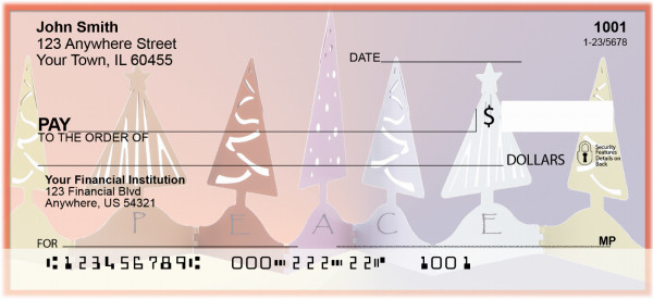 Peace And Joy Christmas Trees Personal Checks | ZXMS-50
