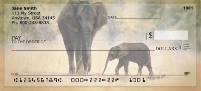 Elephants in the Wild Personal Checks - 4
