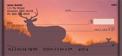 Deer Sunset Silhouettes Personal Checks