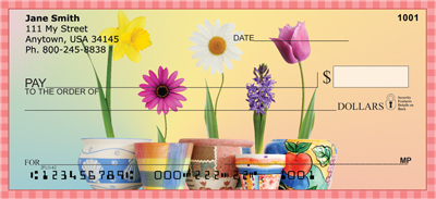 Spring Pots & Flowers Personal Checks - 1
