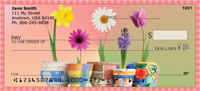 Spring Pots & Flowers Personal Checks - 3
