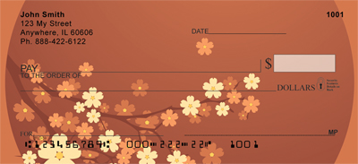 Oriental Inspired Cherry Branch Personal Checks