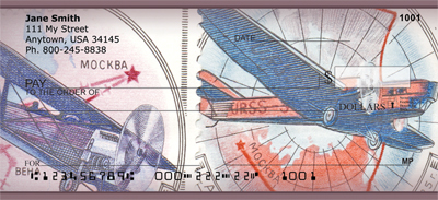 Vintage Airplane Stamps Personal Checks - 4