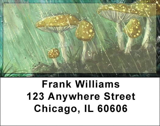 Mushroom Rain Address Labels