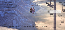 Skiing On A Golden Mountain Personal Checks