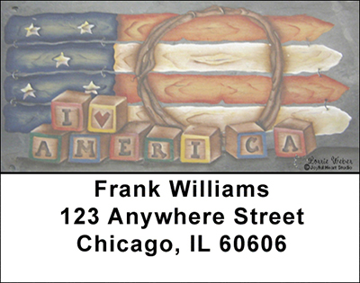 Americana Picket Flag Address Labels - 1