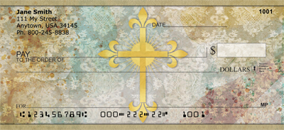 Fleur de Lis Cross Personal Checks
