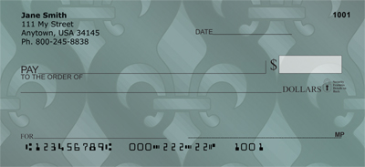 Brushed Metal Fleur de Lis Personal Checks