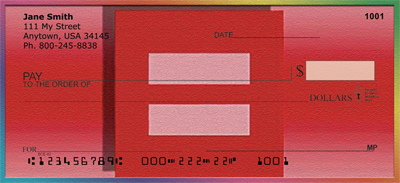 Support For Marriage Equality Personal Checks