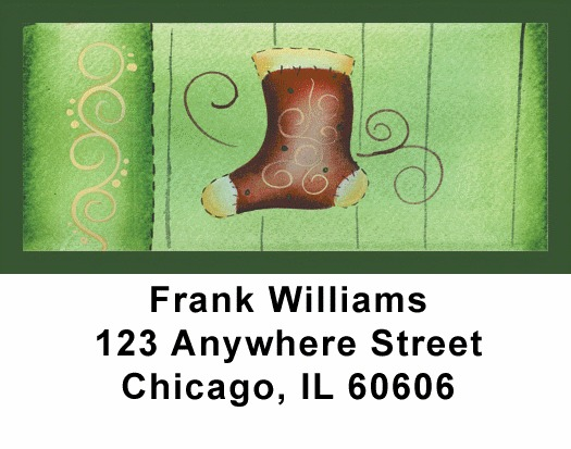 Swirl Tree & Stocking Address Labels - 1