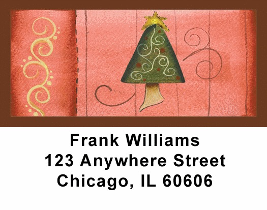 Swirl Tree & Stocking Address Labels - 2