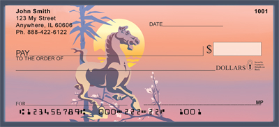 Asian Horse  & Rooster Personal Checks - 1