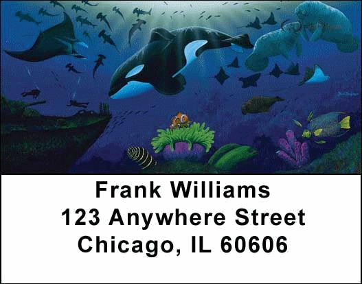 Whales and Lighthouse Address Labels - 1