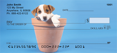 Potted Puppies Personal Checks