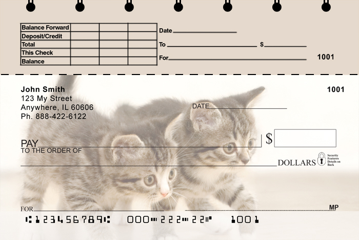 Cute Kittens Top Stub Checks - 1