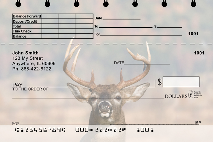 Big Horned Buck Deers Top Stub Checks