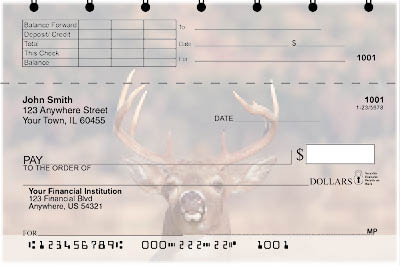 Big Horned Buck Deers Top Stub Checks - 1
