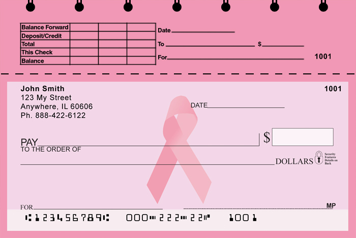 Pink Ribbon Top Stub Checks