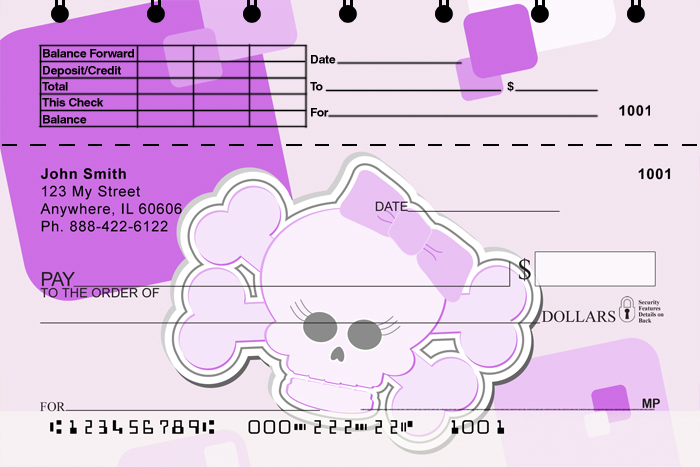 Girly Skulls Top Stub Checks - 2