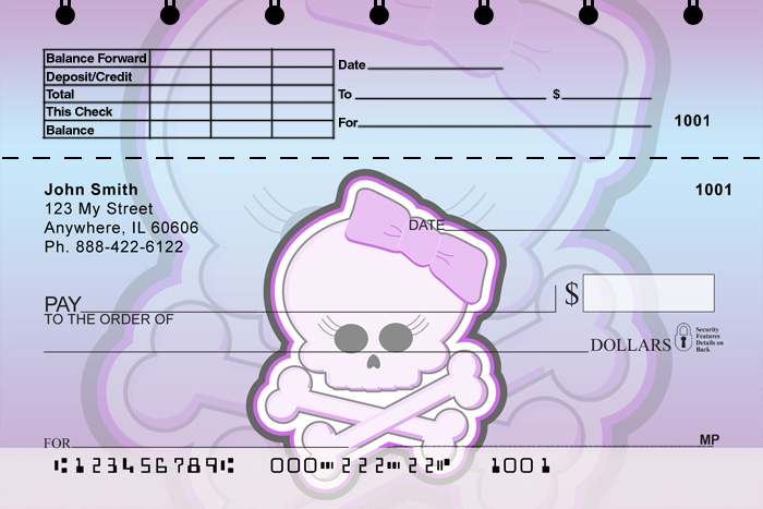 Girly Skulls Top Stub Checks - 4