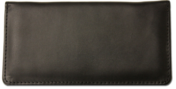 Black Smooth Leather Checkbook Cover - 1