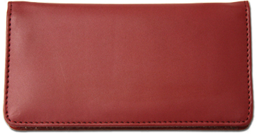Burgundy Smooth Leather Checkbook Cover