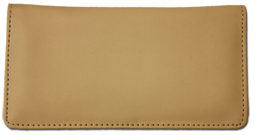 Cream Smooth Leather Checkbook Cover