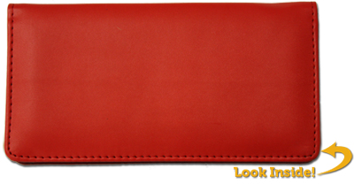Red Smooth Leather Checkbook Cover - 1