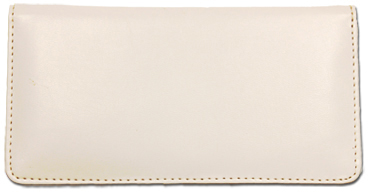 White Smooth Leather Checkbook Cover - 1